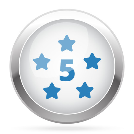 five star: Blue Five Star icon on white glossy chrome app button