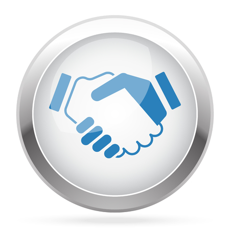 you are welcome: Blue Handshake Agreement icon on white glossy chrome app button