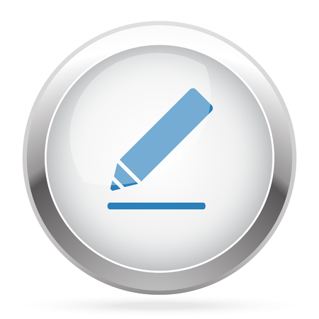 sign here: Blue Sign Here icon on white glossy chrome app button