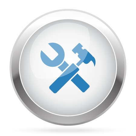 adjusting: Blue Service icon on white glossy chrome app button