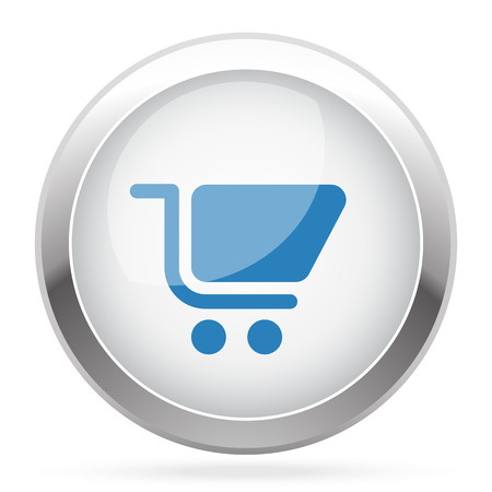 chrome cart: Blue Shopping Cart icon on white glossy chrome app button Illustration
