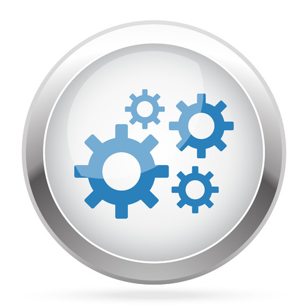 Blue Process icon on white glossy chrome app button