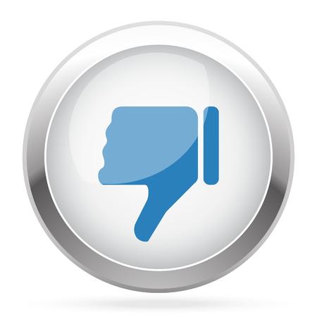 thumb down icon: Blue Thumb Down icon on white glossy chrome app button