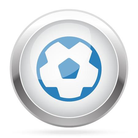 chrome ball: Blue Soccer Ball icon on white glossy chrome app button