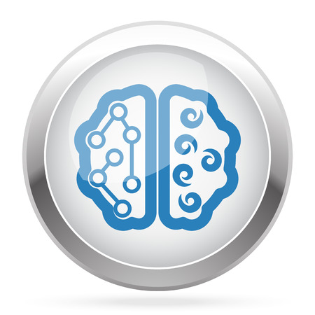 blue brain: Blue Brain icon on white glossy chrome app button Illustration