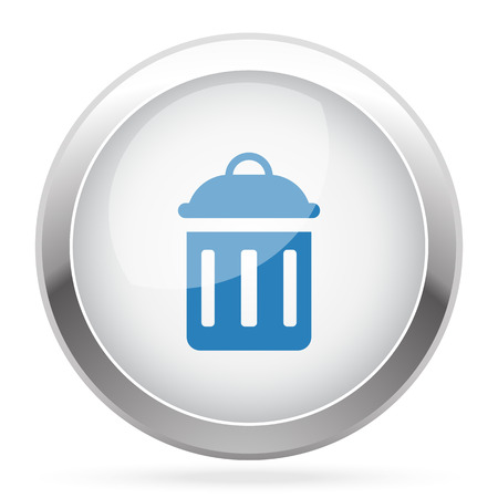 delete icon: Blue Delete icon on white glossy chrome app button Illustration