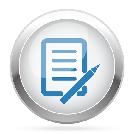blue pen: Blue Pen And Paper icon on white glossy chrome app button