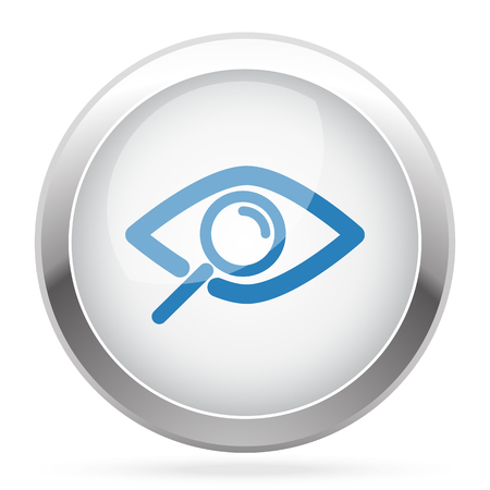 observe: Blue Observe icon on white glossy chrome app button