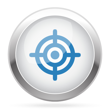 suppliers: Blue Target icon on white glossy chrome app button Illustration