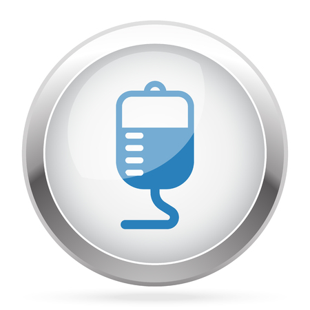 donor blood type: Blue Transfusion icon on white glossy chrome app button