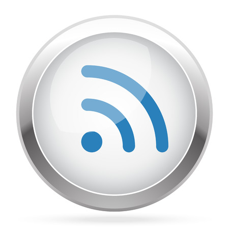 rss icon: Blue Rss icon on white glossy chrome app button