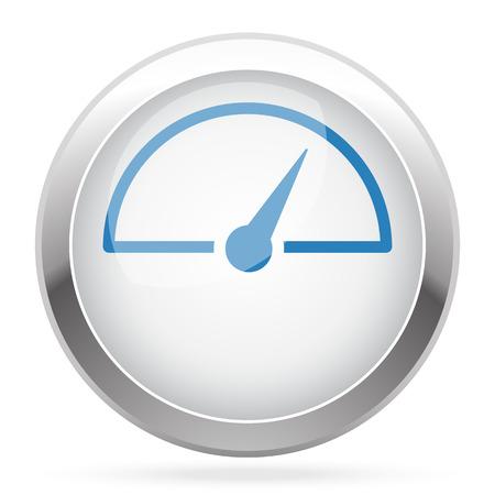 Blau Speed ??Meter-Symbol Auf Weiß Glänzend Chrom App-Taste ...