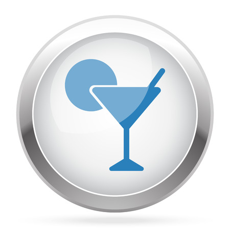 glossy button: Blue Cocktail icon on white glossy chrome app button Illustration