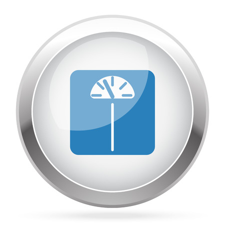 analog weight scale: Blue Personal Scale icon on white glossy chrome app button Illustration