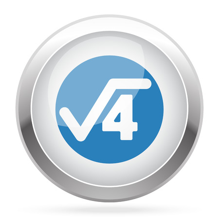 square root: Blue Square Root icon on white glossy chrome app button Illustration