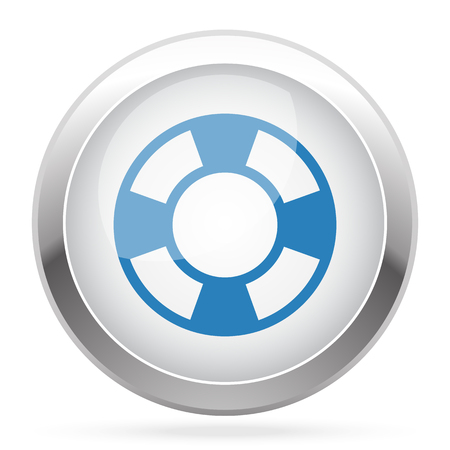 ring buoy: Blue Life Buoy icon on white glossy chrome app button