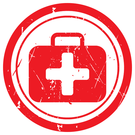 Red First Aid Kit rubber stamp