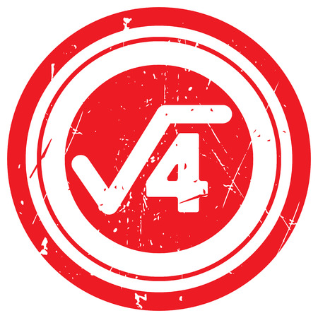 square root: Red Square Root rubber stamp