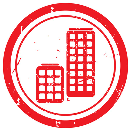 skyscrapers: Red Skyscrapers rubber stamp