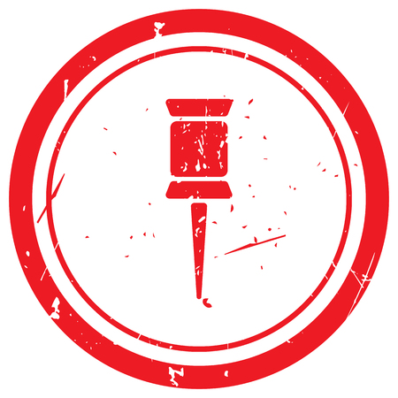 red pushpin: Red Pushpin rubber stamp Illustration