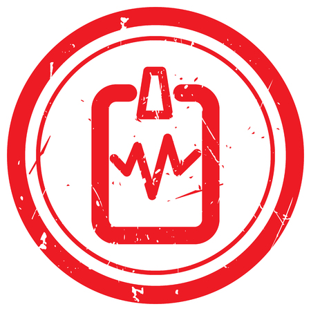 doctor appointment: Red Cardiogram Clipboard rubber stamp Illustration