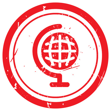 red earth: Red Earth Globe rubber stamp