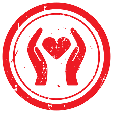 care: Red Heart care rubber stamp