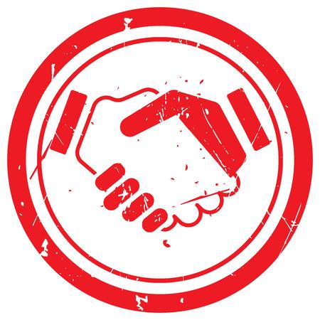 Red Handschlag-Vertrag Stempel