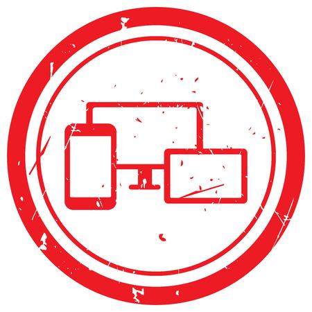 responsive design: Red Responsive Media Design rubber stamp