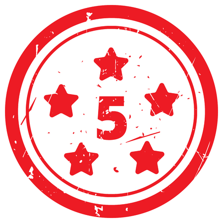 five star: Red Five Star rubber stamp