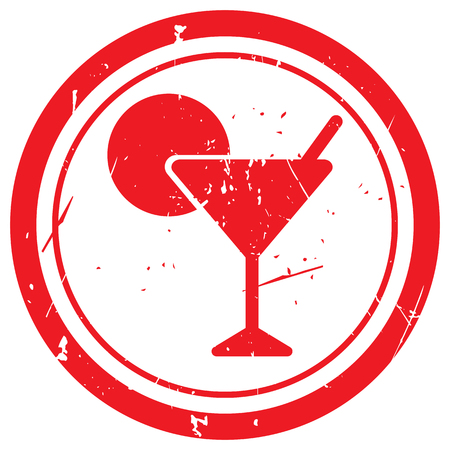 abstract liquor: Red Cocktail rubber stamp