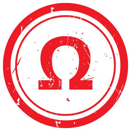 omega: Red Omega rubber stamp Illustration