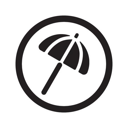 parasol: Flat black Parasol web icon in circle on white background