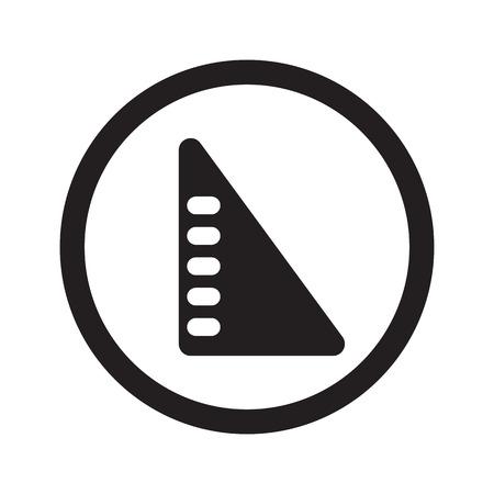 set square: Flat black Set Square web icon in circle on white background Illustration