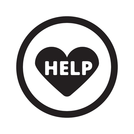 Flat black Defibrillator  web icon in circle on white background