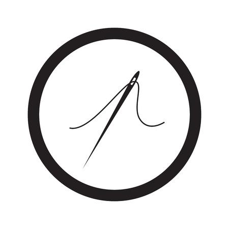 taylor: Flat black Needle web icon in circle on white background