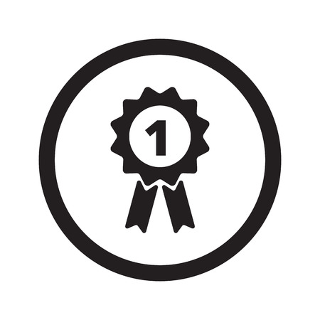 Flat black Prize Ribbon web icon in circle on white background Illustration