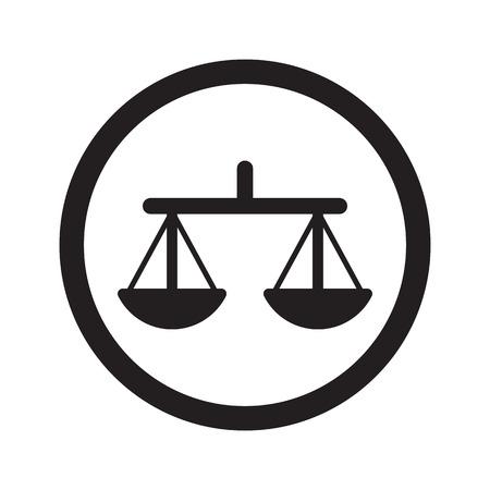 no integrity: Flat black Balance web icon in circle on white background Illustration