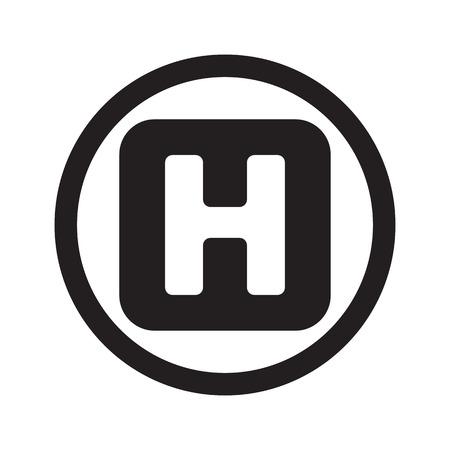 heliport: Flat black Helicopter Platform web icon in circle on white background Illustration