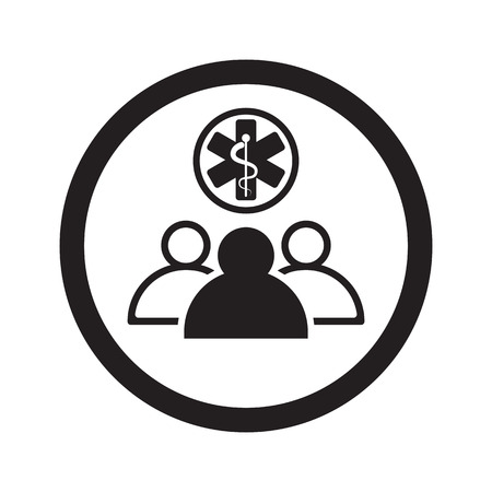 medical team: Flat black Medical Team web icon in circle on white background