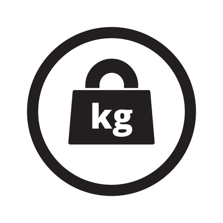 lbs: Flat black Weight Kilograms web icon in circle on white background