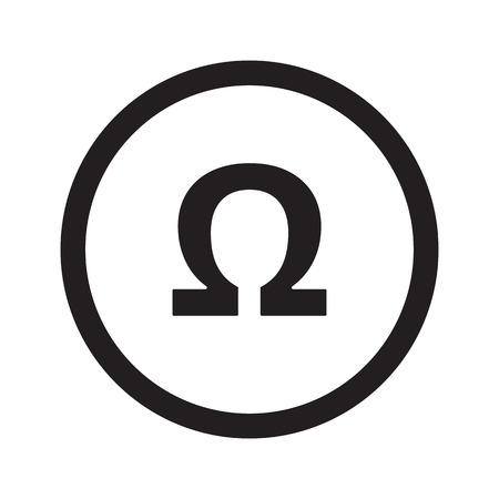 ohm: Flat black Omega web icon in circle on white background