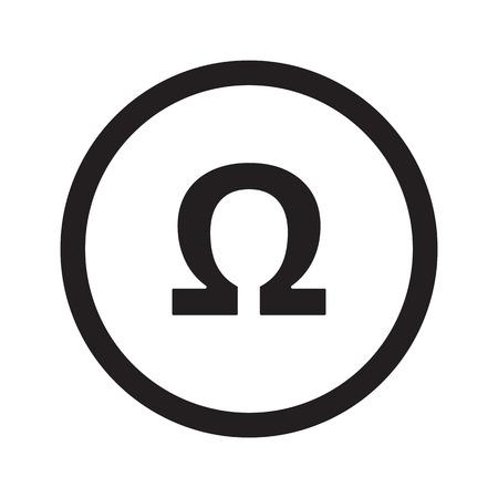 Flat black Omega web icon in circle on white background