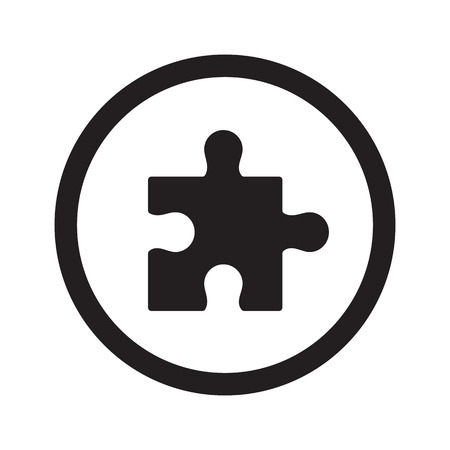 Platte zwarte Puzzle web icon in cirkel op een witte achtergrond