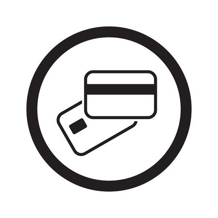 Platte zwarte Credit Card Payment web icon in cirkel op een witte achtergrond