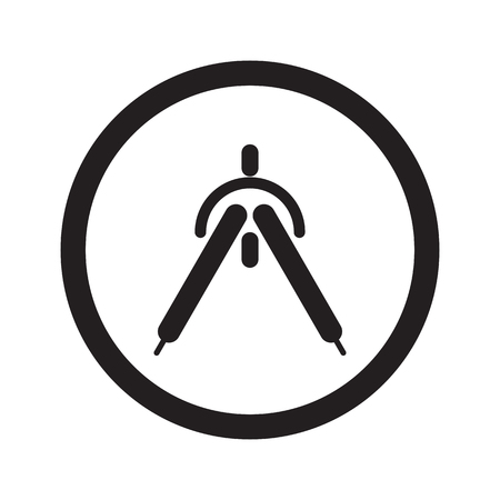 drafting: Flat black Drafting Compass web icon in circle on white background