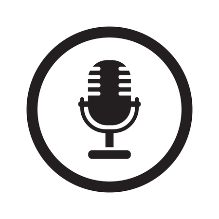 pod cast: Flat black Microphone web icon in circle on white background