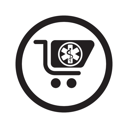 pharmacy store: Flat black Pharmacy Store web icon in circle on white background