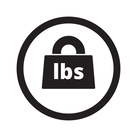 lbs: Flat black Weight Pounds web icon in circle on white background