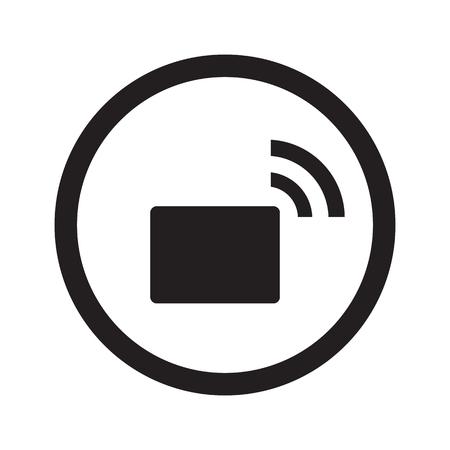 transmitter: Flat black Transmitter web icon in circle on white background Illustration